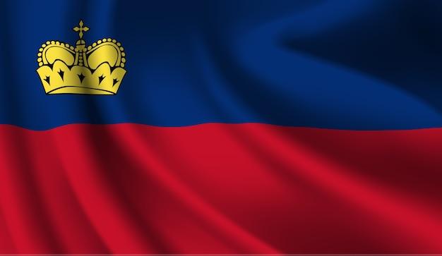 リヒテンシュタインの旗を振っています。リヒテンシュタインの旗の抽象的な背景を振る