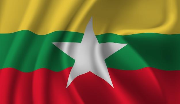 Развевающийся флаг мьянмы. размахивая флагом мьянмы абстрактный фон