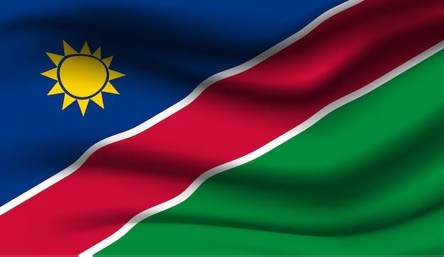 ナミビアの旗を振っています。ナミビアの国旗の抽象的な背景を振る