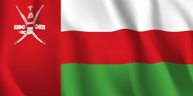 オマーンの旗を振っています。オマーンの国旗の抽象的な背景を振る