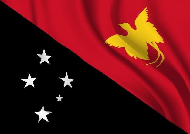 파푸아 뉴기니의 깃발을 흔들며. 파푸아 뉴기니 깃발 추상적 인 배경을 흔들며