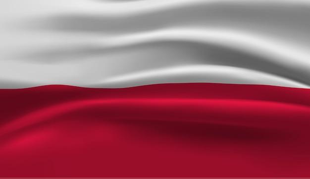Развевающийся флаг польши. размахивая флагом польши абстрактный фон