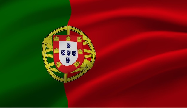 ポルトガルの旗を振っています。ポルトガルの旗の抽象的な背景を振る