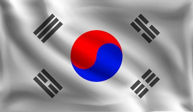Развевающийся флаг республики корея, корейский флаг