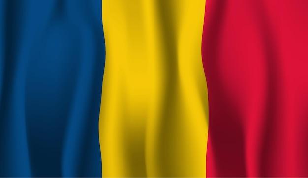 ルーマニアの旗を振っています。ルーマニアの旗の抽象的な背景を振る