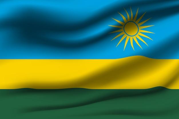 Развевающийся флаг руанды. развевающийся флаг руанды абстрактный фон