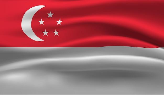 Развевающийся флаг сингапура. размахивая флагом сингапура абстрактный фон