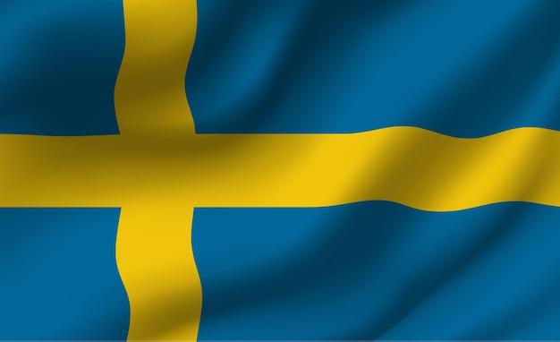 Развевающийся флаг швеции. развевающийся флаг швеции абстрактный фон