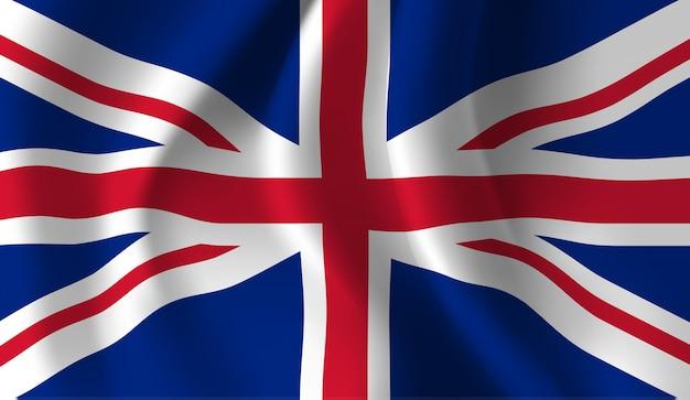영국의 깃발을 흔들며. 영국 국기 추상적 인 배경을 흔들며