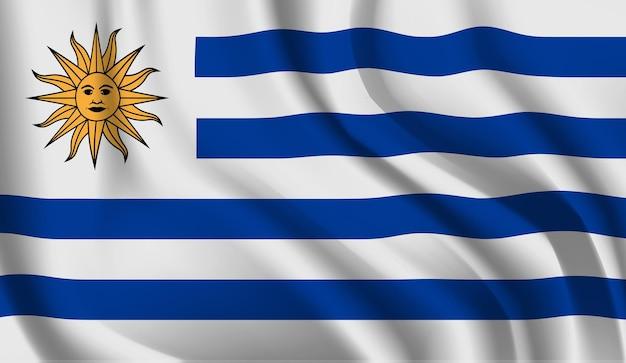 ウルグアイの旗を振るウルグアイの旗を振る抽象的な背景