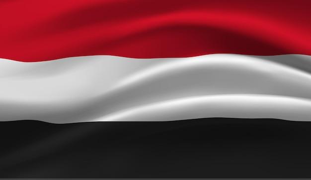イエメンの旗を振っています。イエメンの国旗の抽象的な背景を振る
