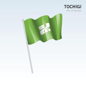 회색 배경에 고립 된 일본의 도치기 현의 깃발을 흔들며