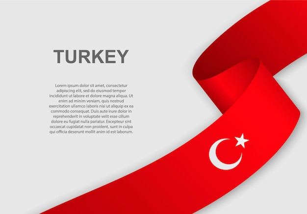 터키의 깃발을 흔들며.