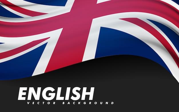 Развевающийся флаг соединенного королевства. шаблон, баннер, фон. национальный праздник. символ, иллюстрация.