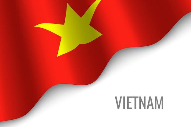 ベトナムの旗を振る
