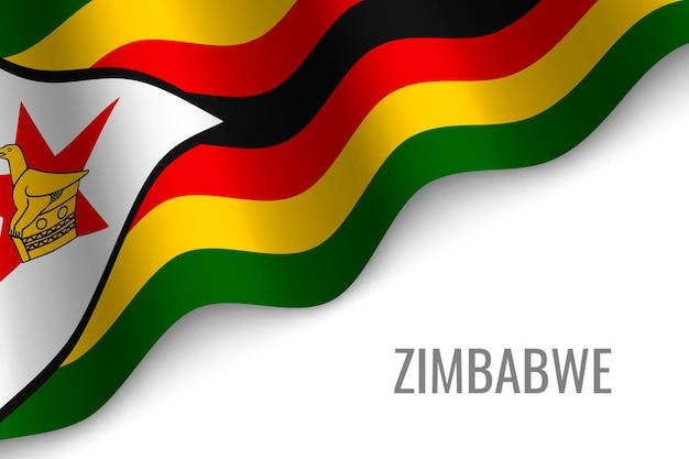 ジンバブエの旗を振る