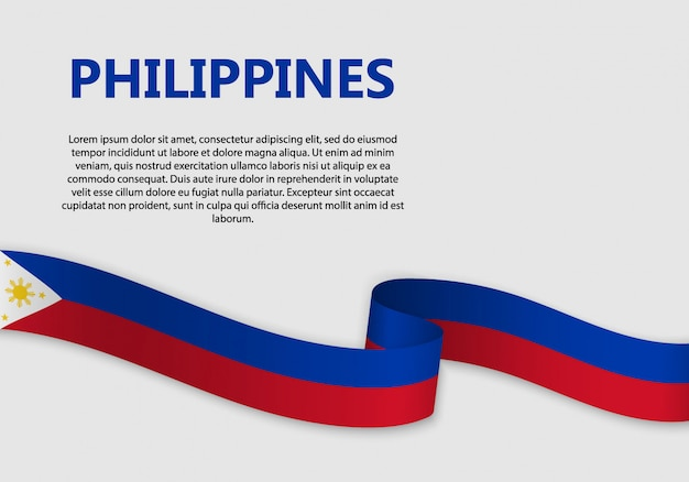 Waving flag of philippines banner