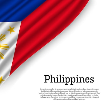 Waving flag of philippines on white