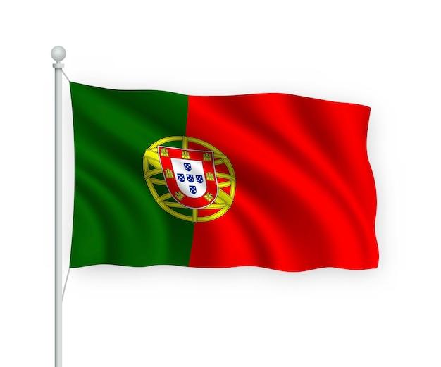 Waving flag portugal on flagpole isolated on white