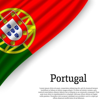 Waving flag of portugal on white