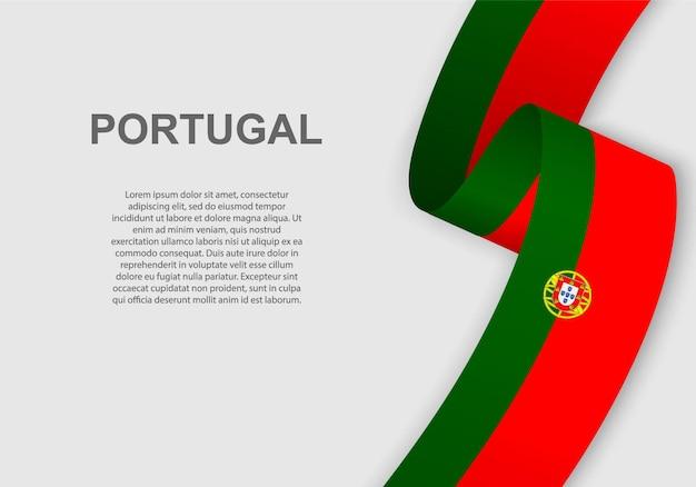 Waving flag of portugal.
