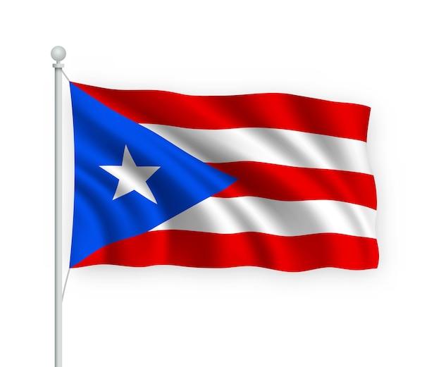 Waving flag puerto rico on flagpole isolated on white