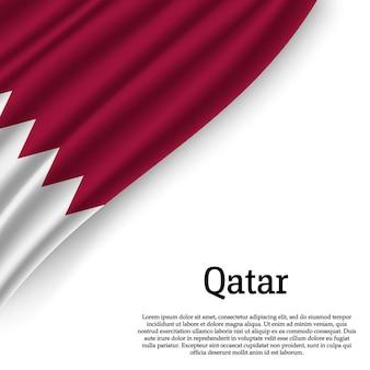 Waving flag of qatar on white