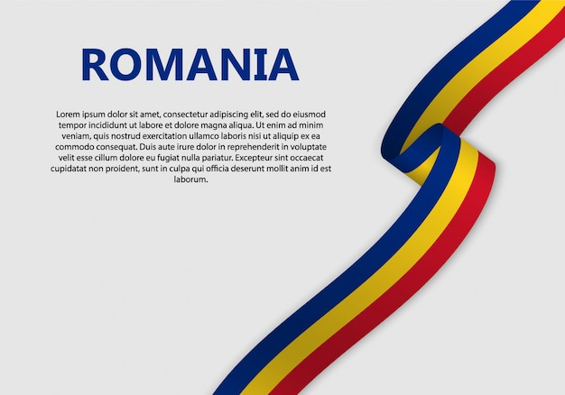 Waving flag of romania banner