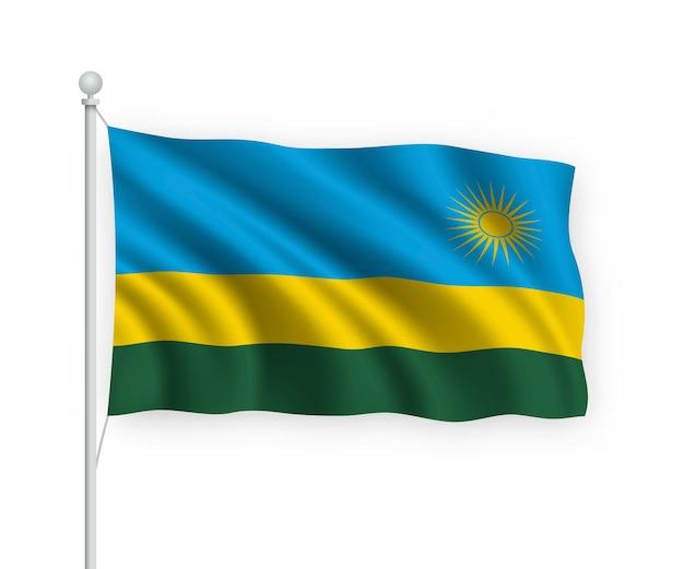 Развевающийся флаг руанды на флагштоке изолированного на белом