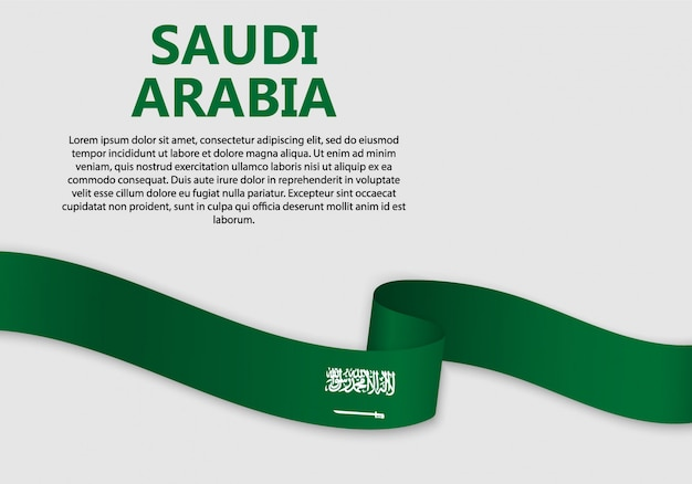 Waving flag of saudi arabia, vector illustration