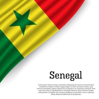 Waving flag of senegal on white