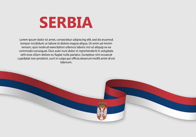 Waving flag of serbia banner