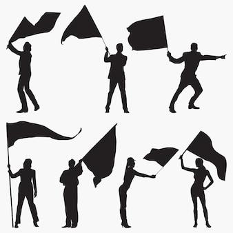 旗を振ってシルエット