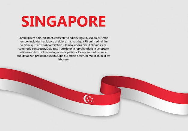 Waving flag of singapore banner