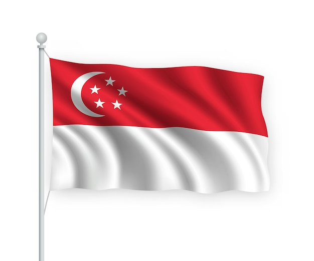 Развевающийся флаг сингапура на флагштоке изолированного на белом