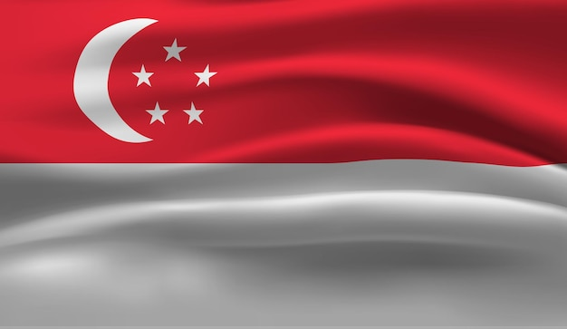 Waving flag of the singapore. waving singapore flag abstract background