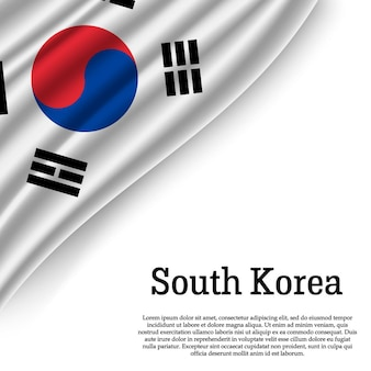 Waving flag of south korea on white