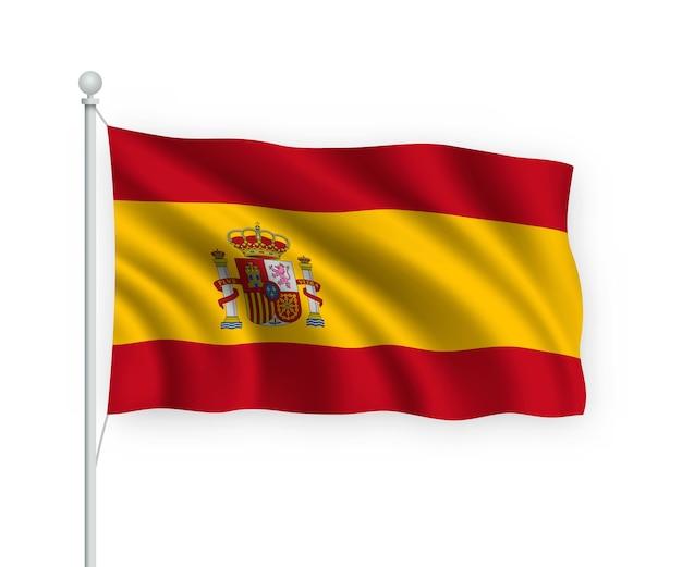 Развевающийся флаг испании на флагштоке изолированного на белом