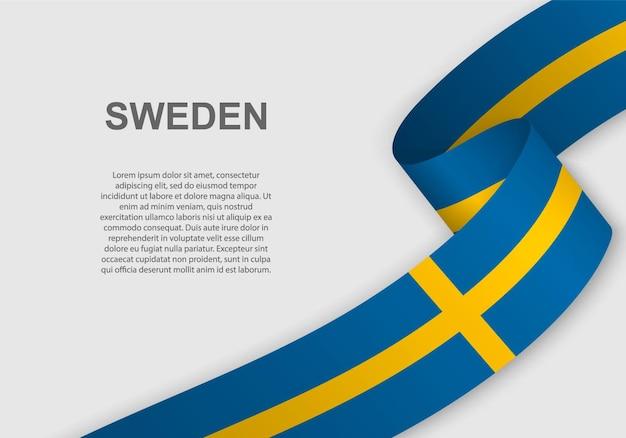 Waving flag of sweden.