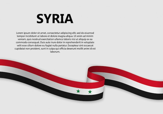 Waving flag of syria banner
