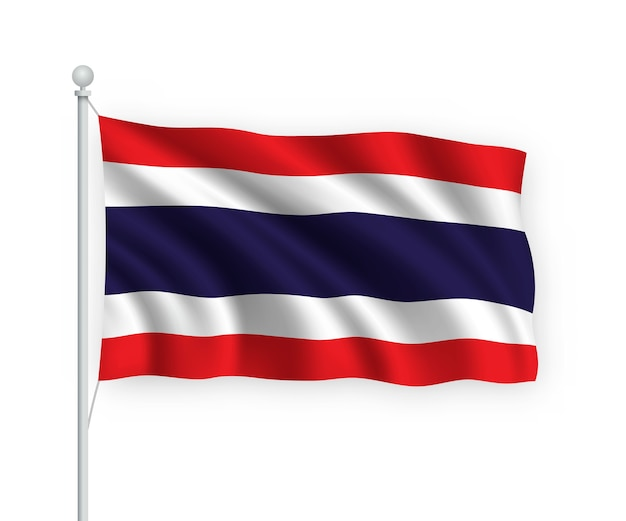 Waving flag thailand on flagpole isolated on white