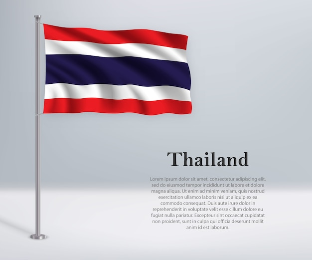 Waving flag of thailand on flagpole