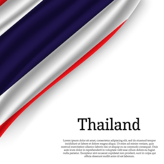 Waving flag of thailand on white