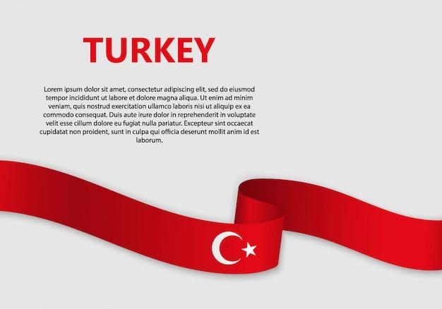 Waving flag of turkey banner