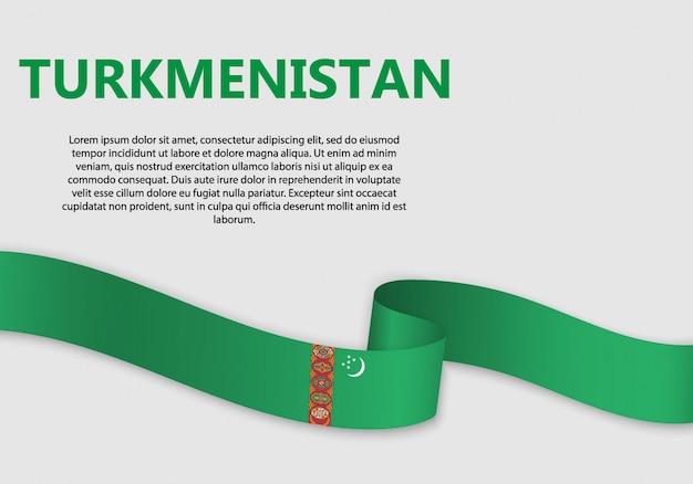 Waving flag of turkmenistan banner