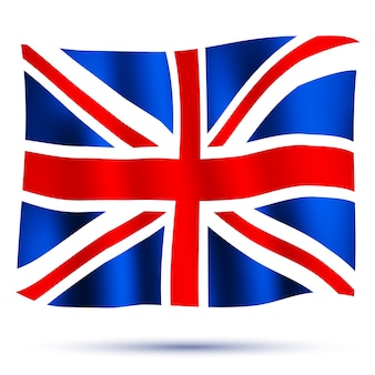 Waving flag union jack isolated