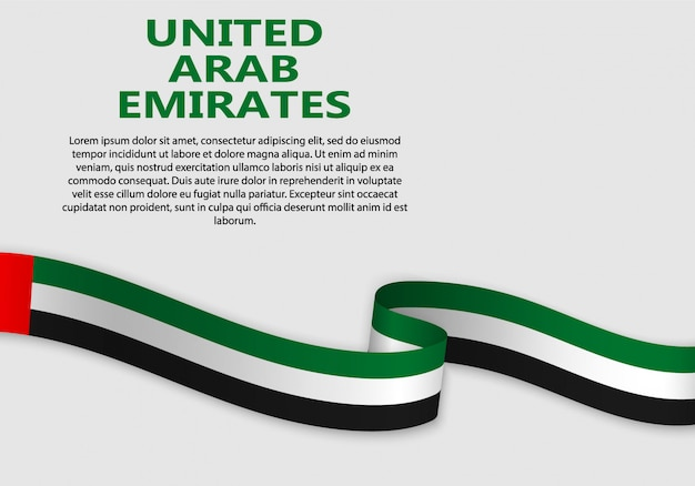 Waving flag of united arab emirates, vector illustration