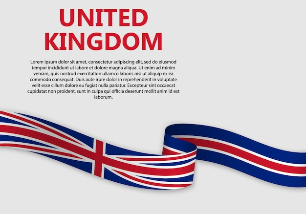 Waving flag of united kingdom, vector illustration