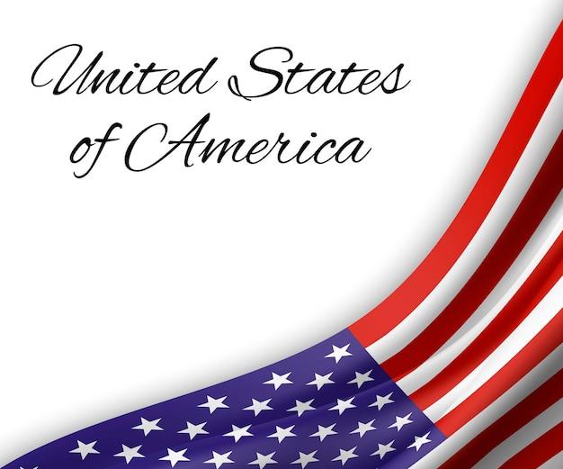 Waving flag of united states of america on white background.
