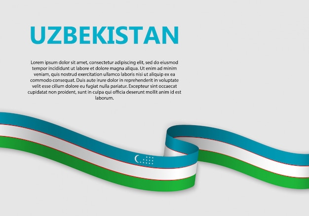 Waving flag of uzbekistan banner